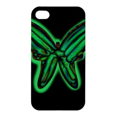 Green neon butterfly Apple iPhone 4/4S Hardshell Case