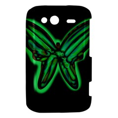 Green neon butterfly HTC Wildfire S A510e Hardshell Case