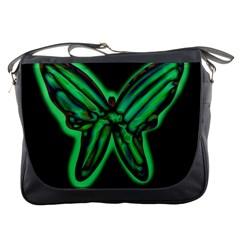 Green neon butterfly Messenger Bags