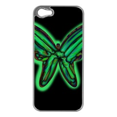 Green neon butterfly Apple iPhone 5 Case (Silver)