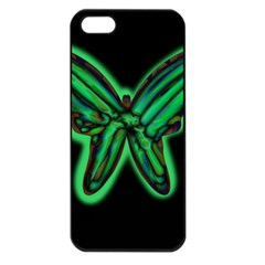Green neon butterfly Apple iPhone 5 Seamless Case (Black)