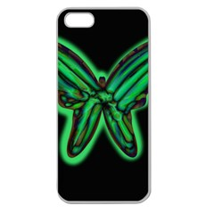 Green neon butterfly Apple Seamless iPhone 5 Case (Clear)