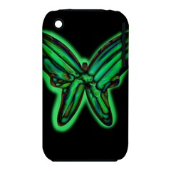 Green neon butterfly Apple iPhone 3G/3GS Hardshell Case (PC+Silicone)
