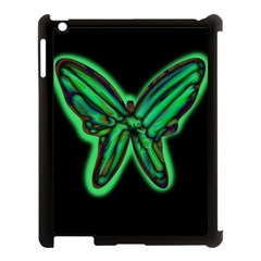 Green neon butterfly Apple iPad 3/4 Case (Black)