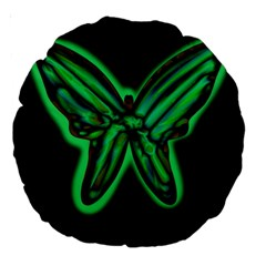 Green neon butterfly Large 18  Premium Round Cushions