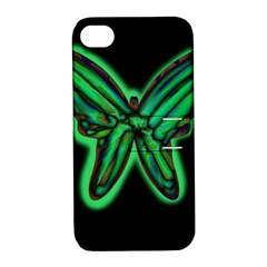 Green neon butterfly Apple iPhone 4/4S Hardshell Case with Stand