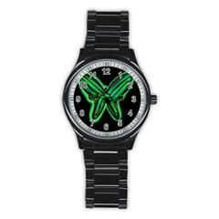 Green neon butterfly Stainless Steel Round Watch