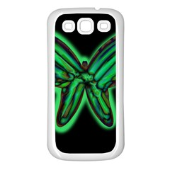 Green neon butterfly Samsung Galaxy S3 Back Case (White)