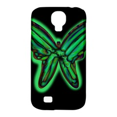 Green neon butterfly Samsung Galaxy S4 Classic Hardshell Case (PC+Silicone)