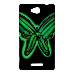 Green neon butterfly Sony Xperia C (S39H)