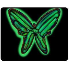 Green neon butterfly Double Sided Fleece Blanket (Medium)