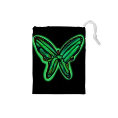 Green neon butterfly Drawstring Pouches (Small)
