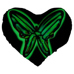Green neon butterfly Large 19  Premium Flano Heart Shape Cushions