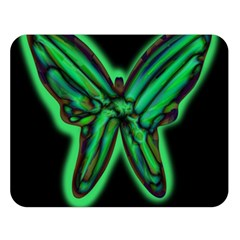 Green neon butterfly Double Sided Flano Blanket (Large)