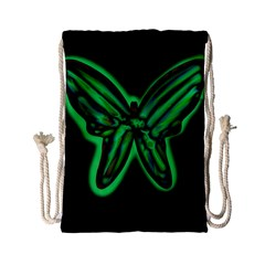 Green neon butterfly Drawstring Bag (Small)