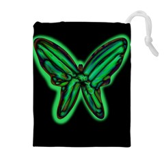 Green neon butterfly Drawstring Pouches (Extra Large)