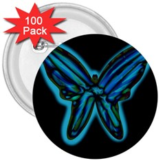 Blue butterfly 3  Buttons (100 pack)