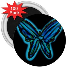 Blue butterfly 3  Magnets (100 pack)
