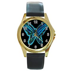 Blue butterfly Round Gold Metal Watch