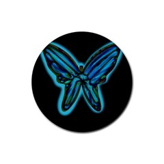 Blue butterfly Rubber Coaster (Round)