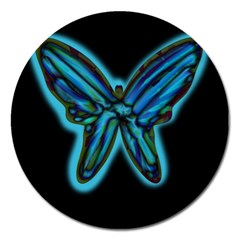 Blue butterfly Magnet 5  (Round)