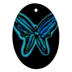 Blue butterfly Oval Ornament (Two Sides)
