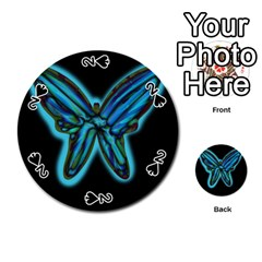 Blue butterfly Playing Cards 54 (Round)