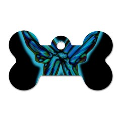 Blue butterfly Dog Tag Bone (Two Sides)