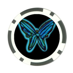 Blue butterfly Poker Chip Card Guards