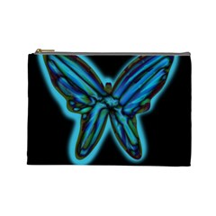 Blue butterfly Cosmetic Bag (Large)