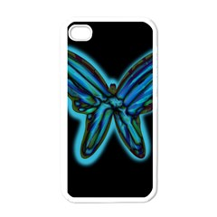 Blue butterfly Apple iPhone 4 Case (White)