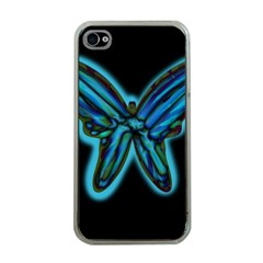 Blue butterfly Apple iPhone 4 Case (Clear)