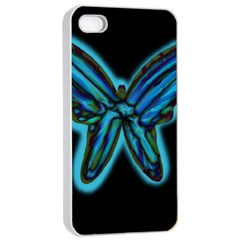 Blue butterfly Apple iPhone 4/4s Seamless Case (White)