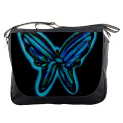 Blue butterfly Messenger Bags