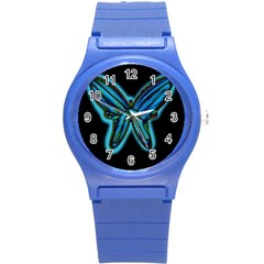 Blue butterfly Round Plastic Sport Watch (S)