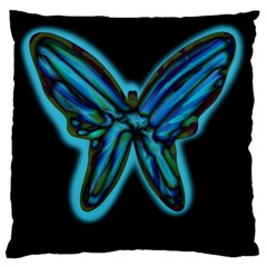 Blue butterfly Large Cushion Case (One Side)