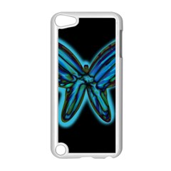 Blue butterfly Apple iPod Touch 5 Case (White)