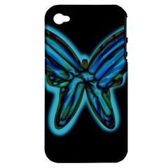 Blue butterfly Apple iPhone 4/4S Hardshell Case (PC+Silicone)