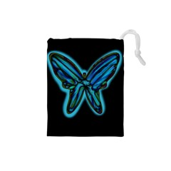 Blue butterfly Drawstring Pouches (Small)