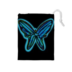 Blue butterfly Drawstring Pouches (Medium)