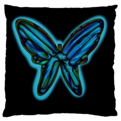 Blue butterfly Standard Flano Cushion Case (One Side)