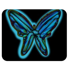 Blue butterfly Double Sided Flano Blanket (Medium)