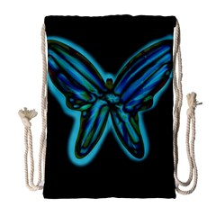 Blue butterfly Drawstring Bag (Large)