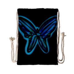 Blue butterfly Drawstring Bag (Small)