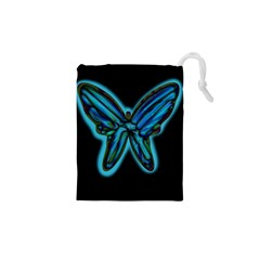 Blue butterfly Drawstring Pouches (XS)