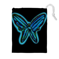Blue butterfly Drawstring Pouches (Extra Large)