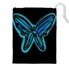 Blue butterfly Drawstring Pouches (XXL)