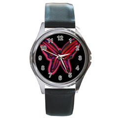 Red butterfly Round Metal Watch