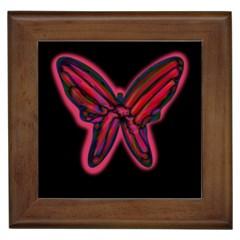Red butterfly Framed Tiles
