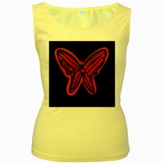 Red butterfly Women s Yellow Tank Top